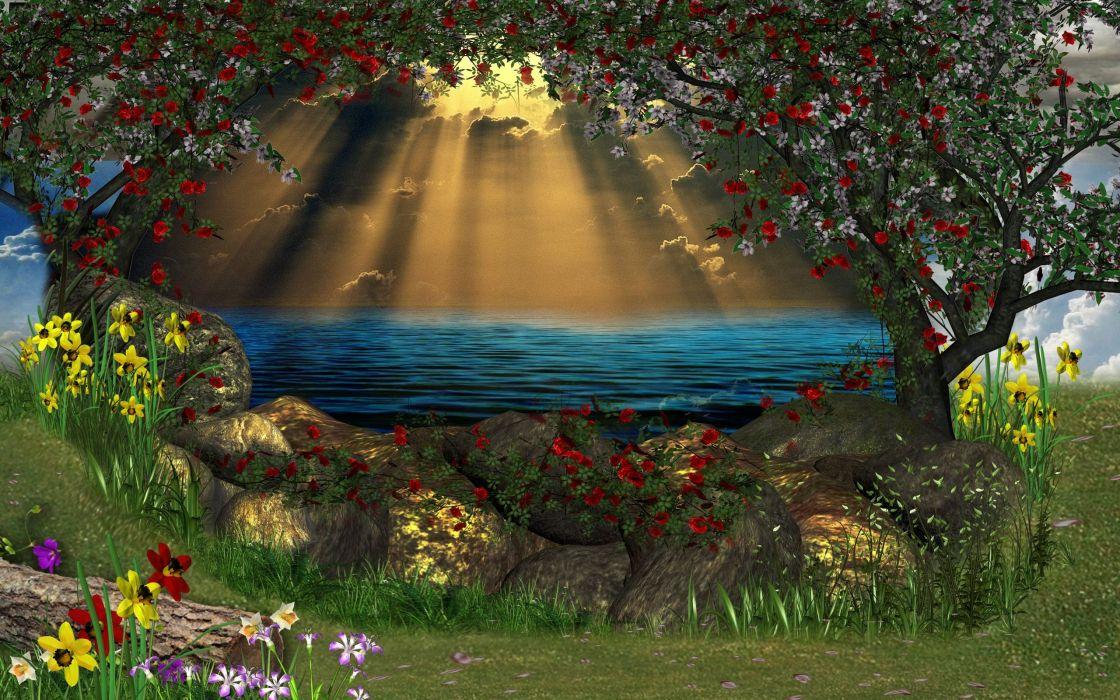 nature 3d art flowers lakes wallpaper