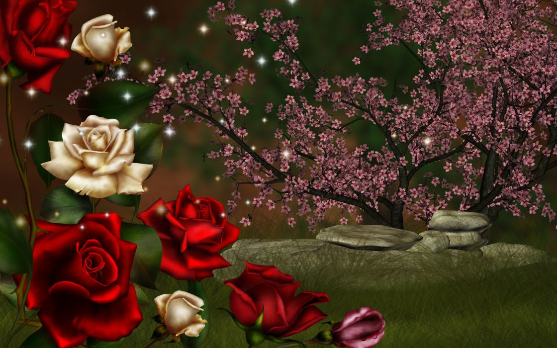 nature roses 3d art wallpaper