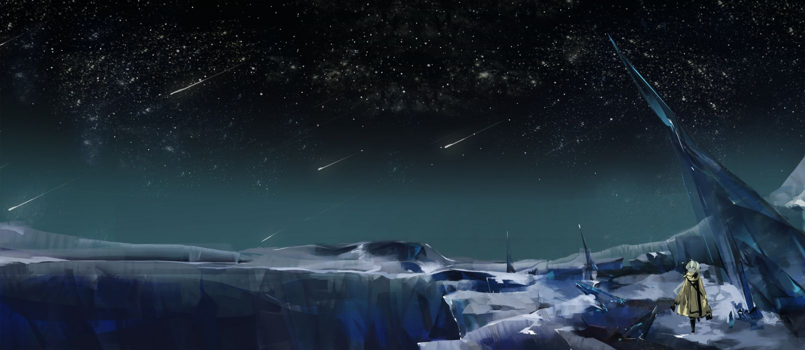 night pixiv fantasia saberiii scenic sky stars wallpaper