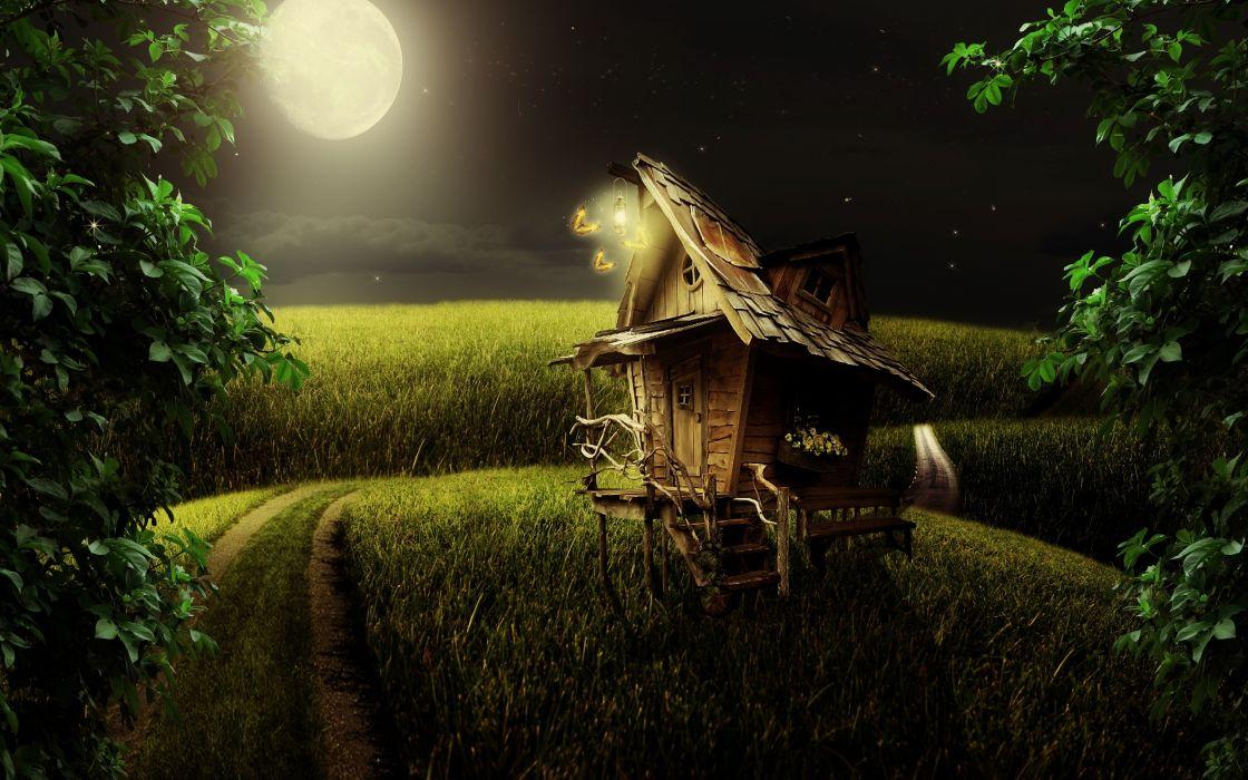 night the moon road field house landscape wallpaper