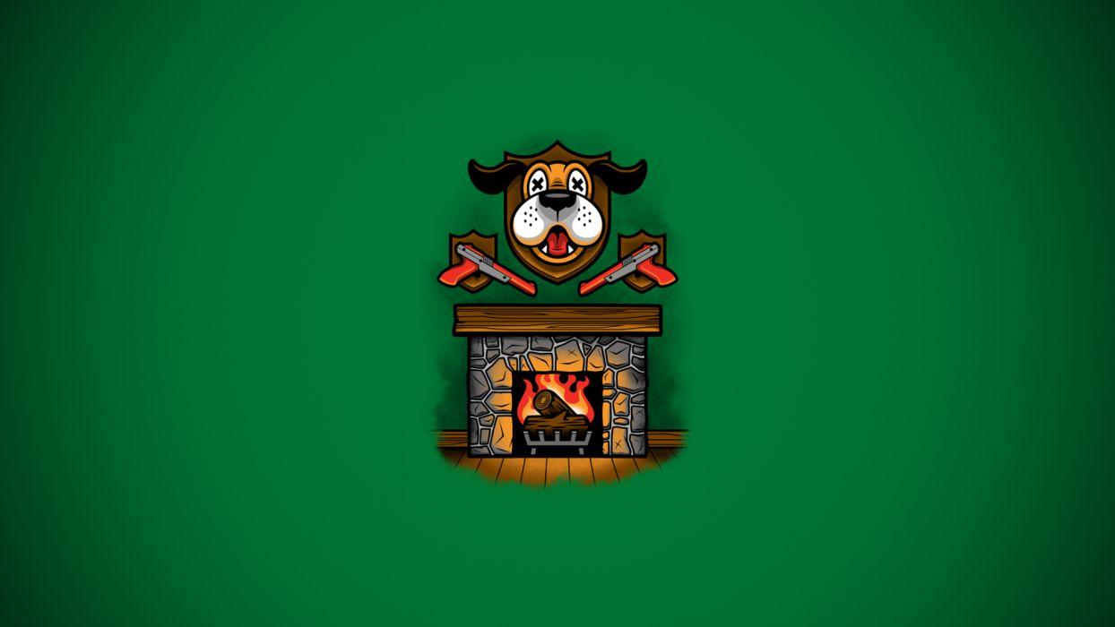 Nintendo Green Fireplace Duck Hunt Dog wallpaper