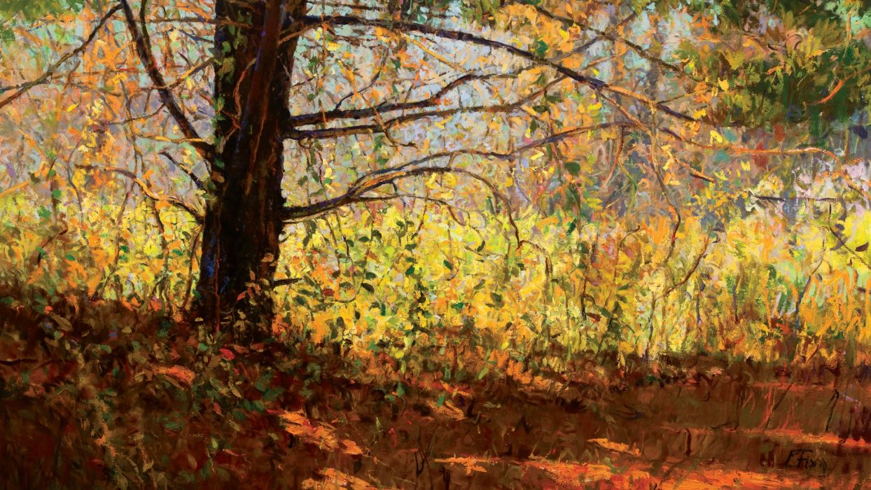 painting  landscape  art  Peter Fiore  autumn  tree  branches  leaves  light  shadow wallpaper