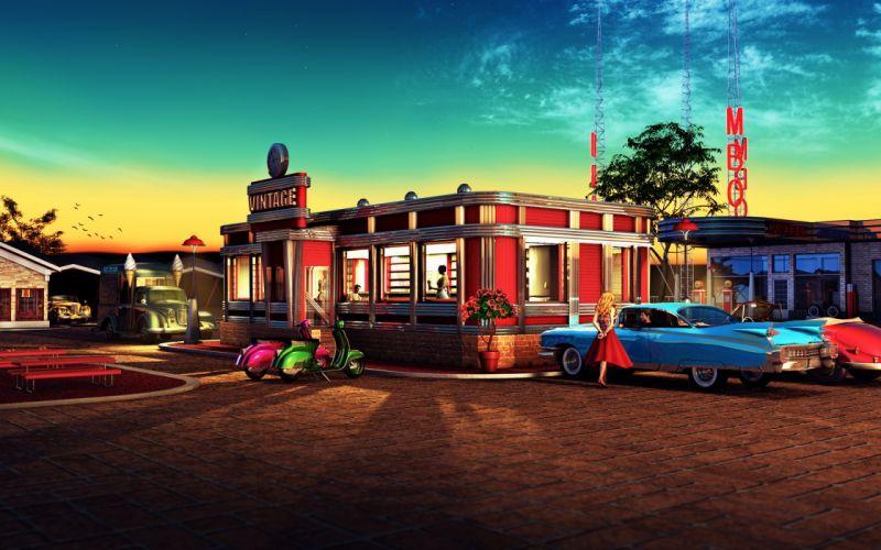 Restaurant Classic Car Classic 50's Retro wallpaper