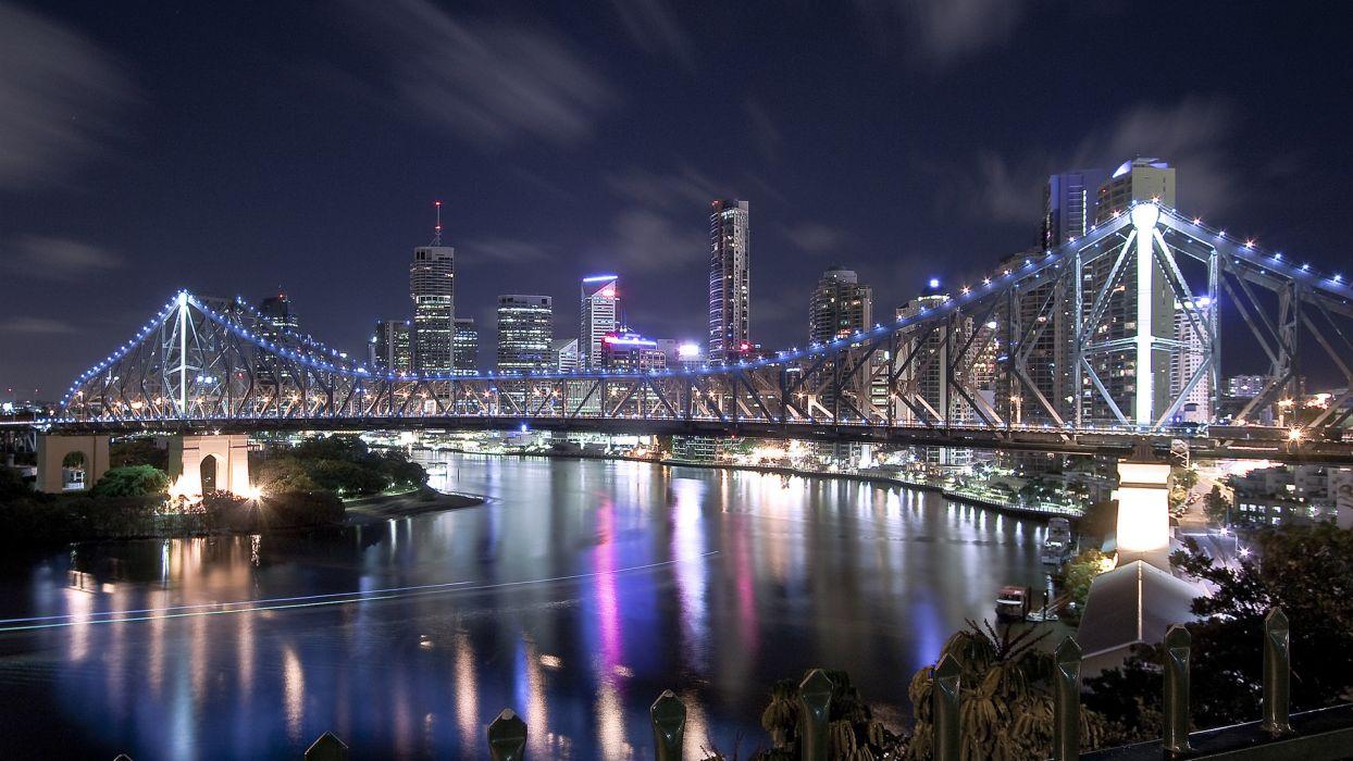 river bridge house night lights wallpaper