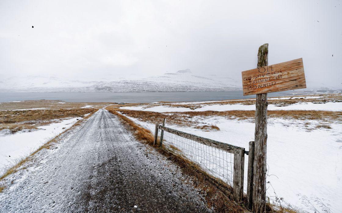 road  sign  snow  landscape wallpaper
