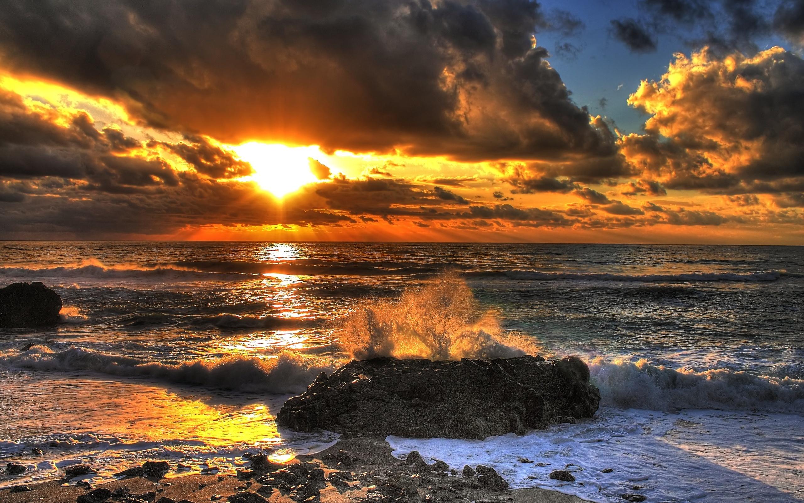 Sea Sunset Landscape Oceran Waves Beaches Wallpaper