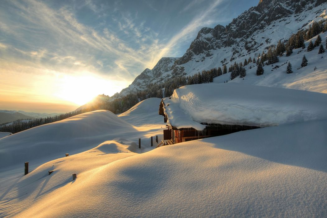 Seasons Winter Austria Mountains Scenery Snow Nature wallpaper