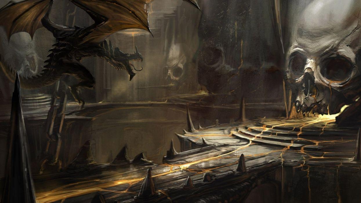 skull lava art cave a dragons dragon fantasy dark skulls wallpaper