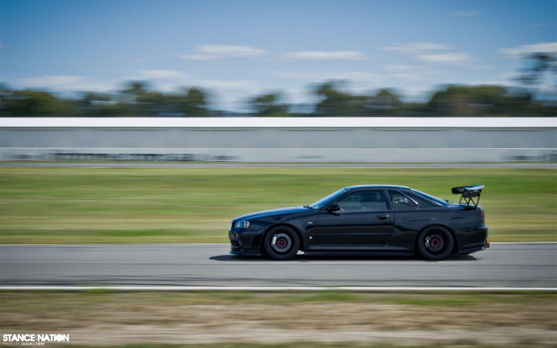 Skyline  ER34  GT-R  Black  speed nissan wallpaper