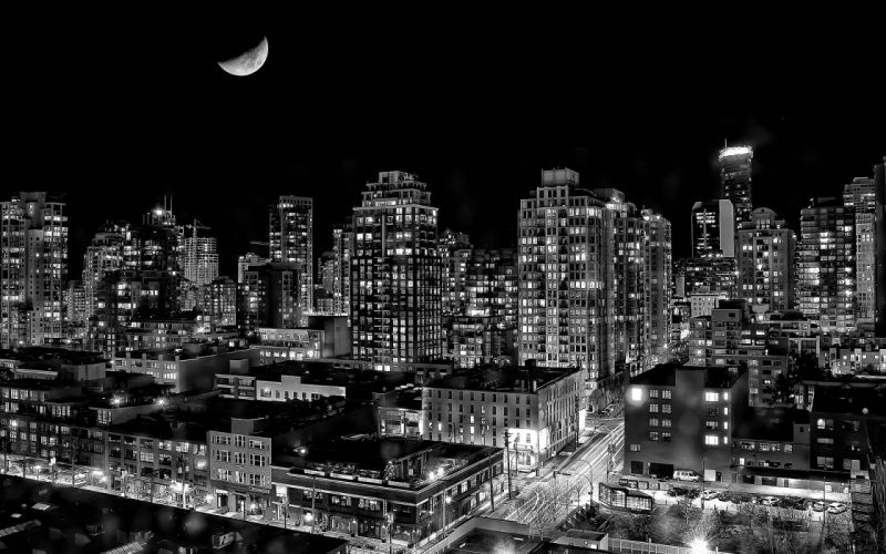 Vancouver Buildings BW Night Moon wallpaper