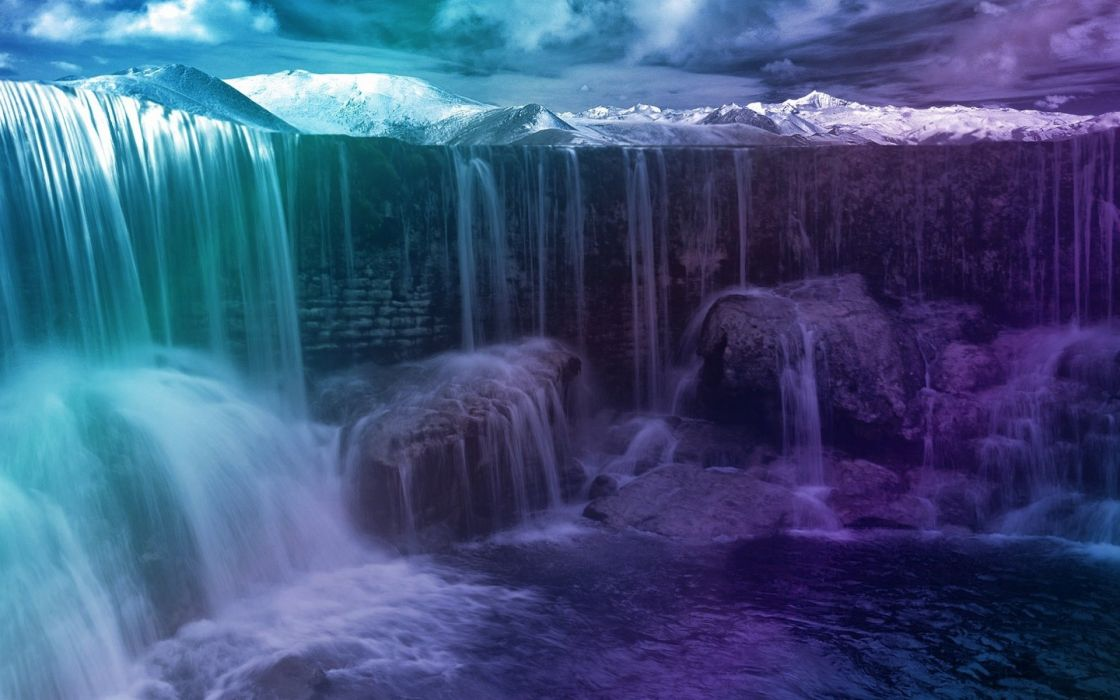 waterfall nature landscape wallpaper
