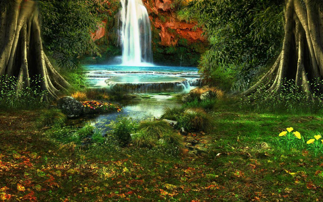 waterfall trees vegetation nature landscape wallpaper