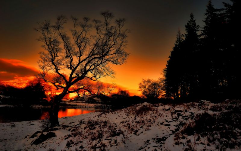 sunset river snow landscape wallpaper