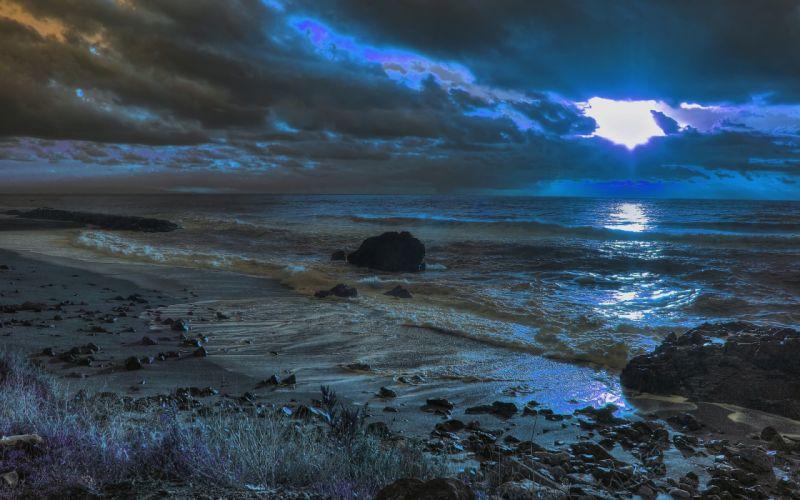 sunset sea beach landscape ocean beaches waves wallpaper