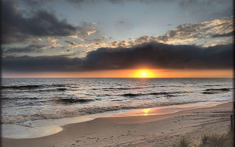 sunset sea beach landscape ocean wallpaper