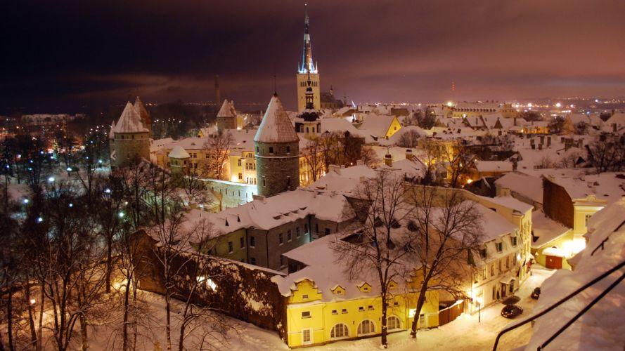 Tallinn winter night wallpaper