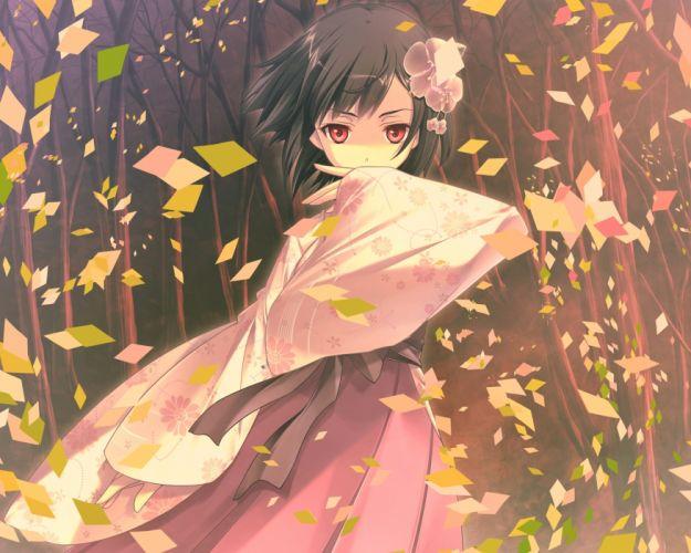 black hair game cg japanese clothes kimono kitto todoku sumiwataru asairo yori mo red eyes short hair waka yasuyuki wallpaper