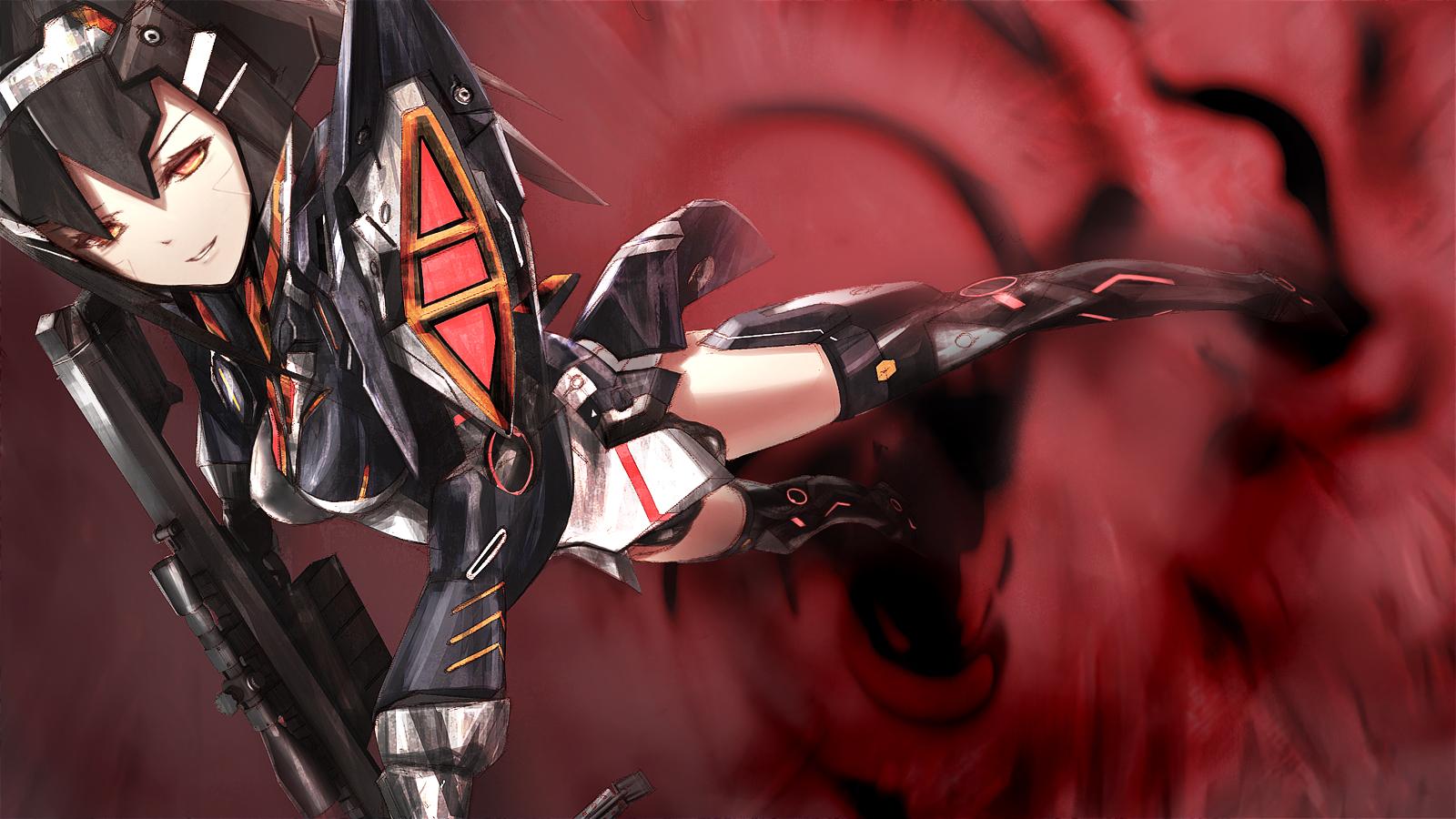 Phantasy Star Online 2 Wallpaper: Black Hair Gun Kawanakajima Lisa (pso2) Phantasy Star Ii