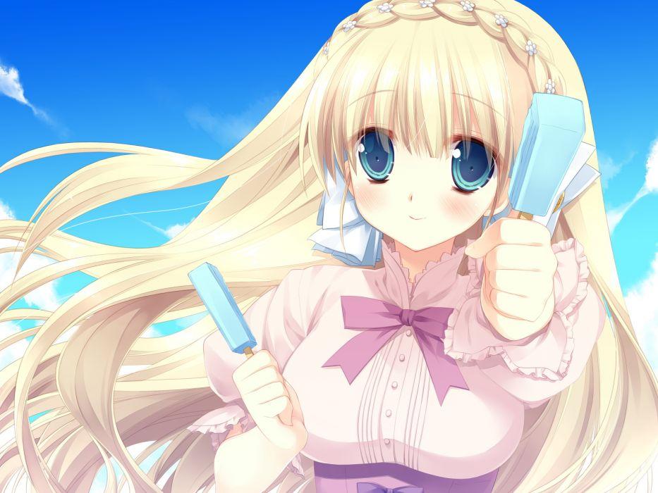 blonde hair blue eyes game cg ice cream kicking horse rhapsody long hair miyasu risa orina nobara wallpaper