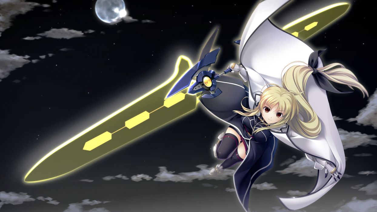 blonde hair bow cape fate testarossa mahou senki lyrical nanoha force mahou shoujo lyrical nanoha moon night sky sword tebukuro thighhighs weapon wallpaper