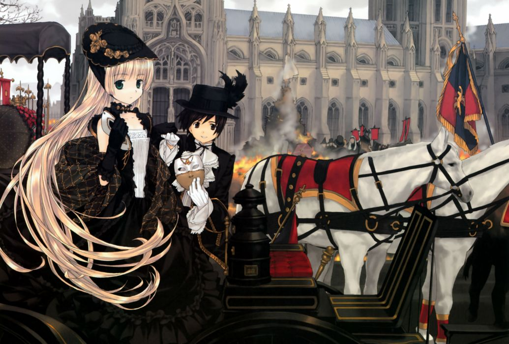 animal blonde hair dress gosick hat kujou kazuya long hair mask takeda hinata victorique de broix wallpaper