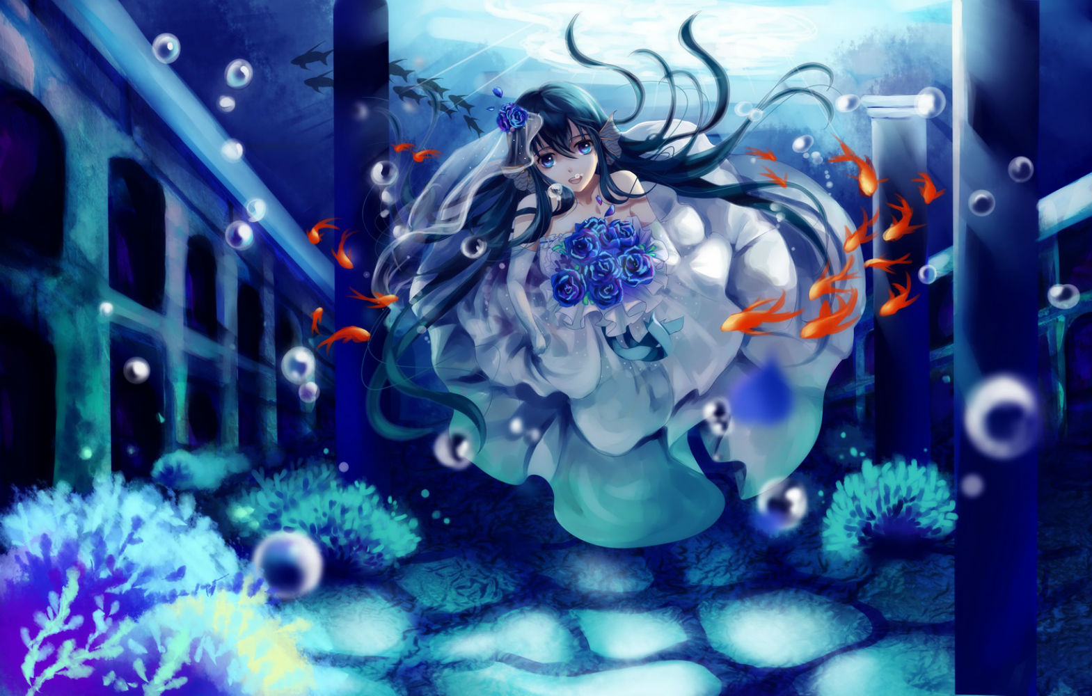 Animal black hair blue eyes bubbles etin fish flowers ...