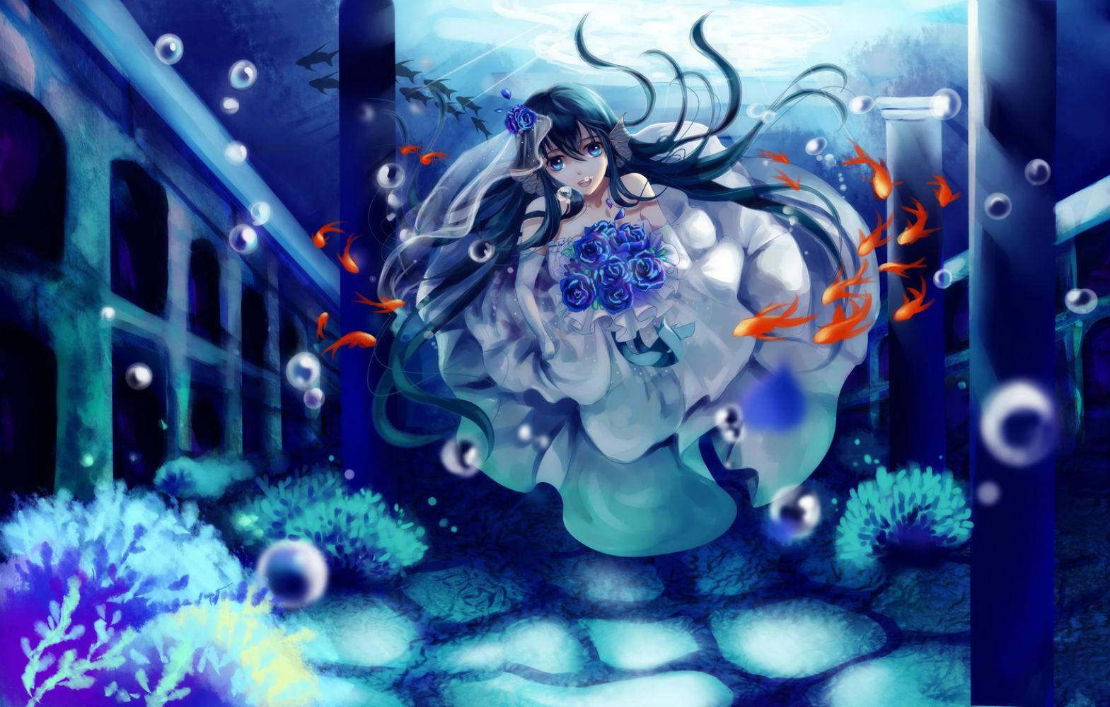 Animal black hair blue eyes bubbles etin fish flowers ...