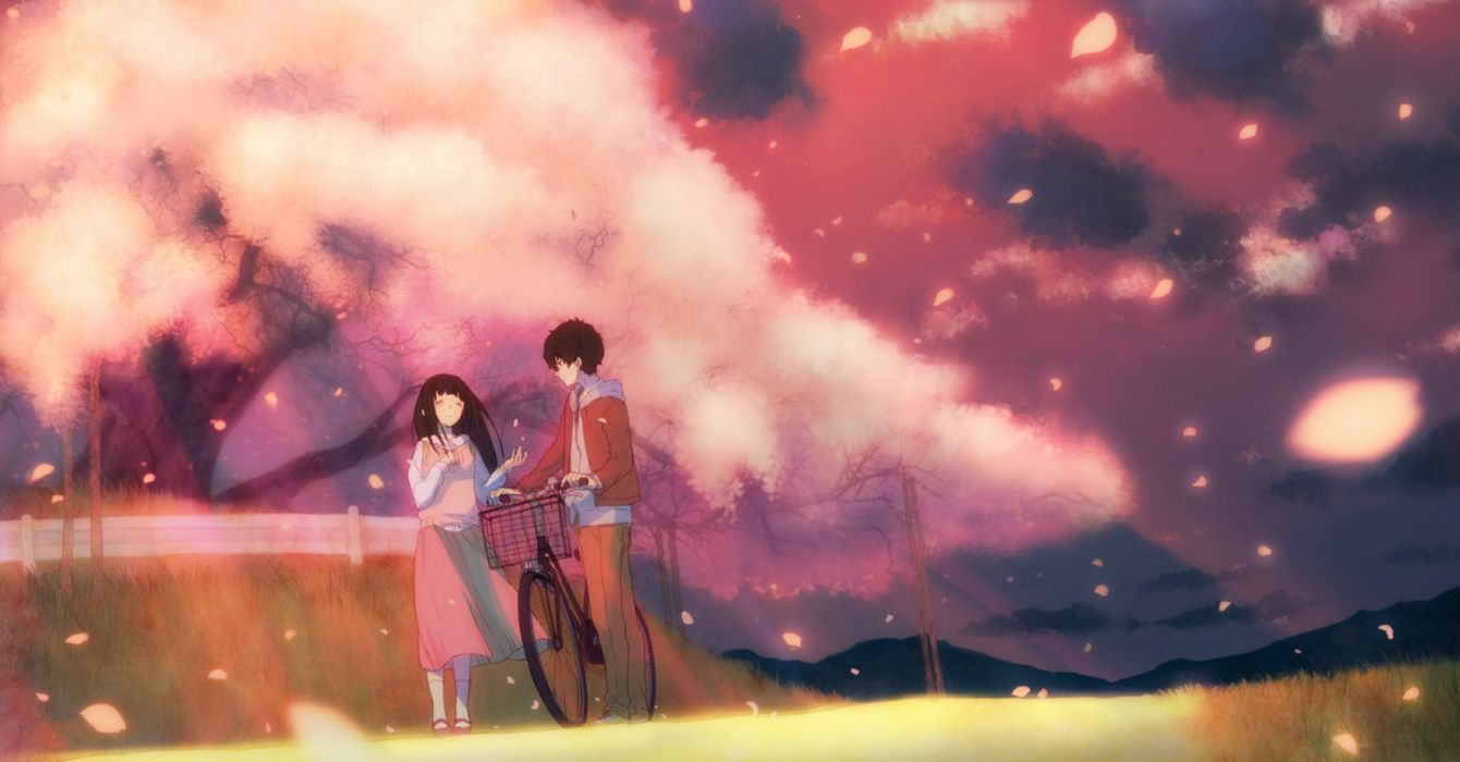 bicycle black hair cherry blossoms chitanda eru hyouka long hair meron (yakisoba) oreki houtarou petals pink short hair wallpaper