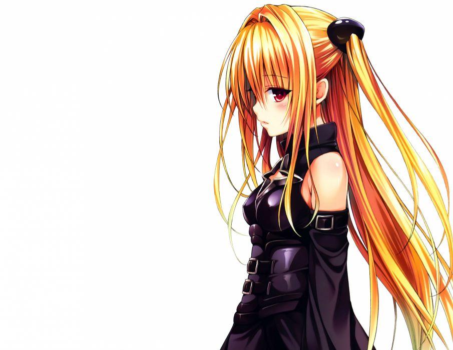 blonde hair blush golden darkness long hair red eyes to love ru to love ru darkness white yabuki kentarou wallpaper