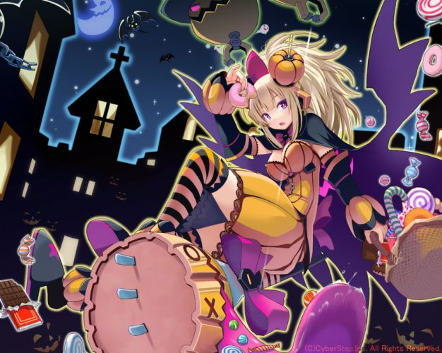blonde hair cosmic break halloween moon morizo cs ponytail pumpkin purple eyes ribbons thighhighs wallpaper