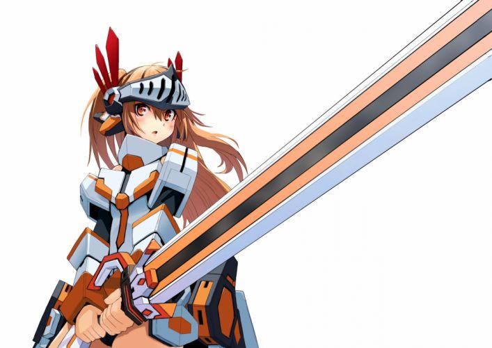 blush brown eyes brown hair cosmic break long hair mechagirl morizo cs sword weapon wallpaper