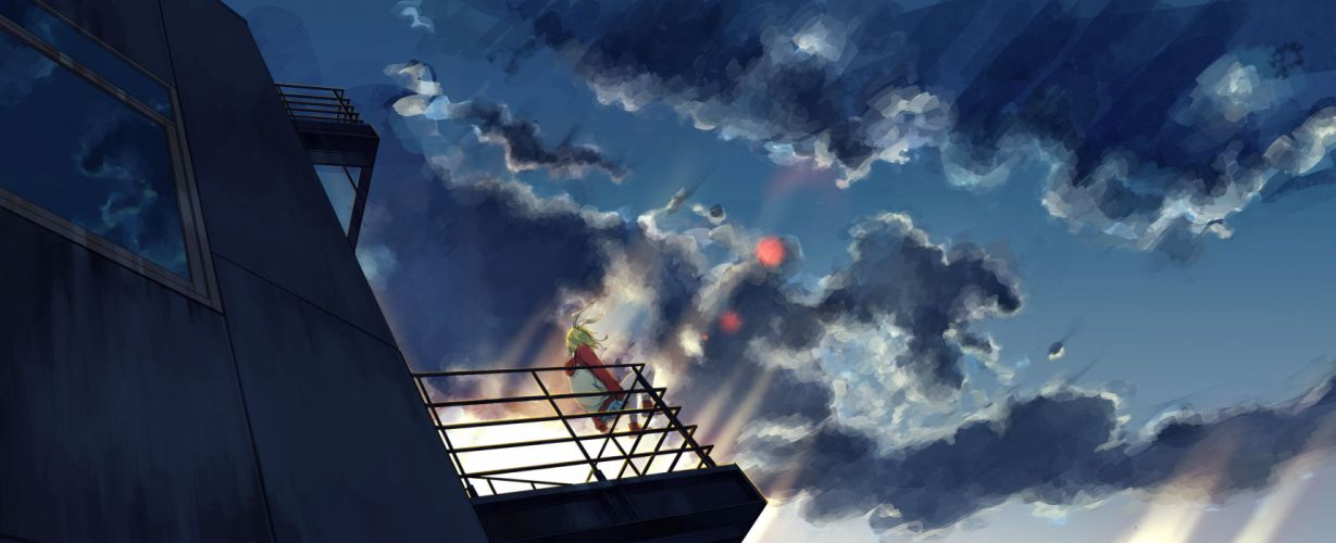 building clouds kagamine rin no wallpaper