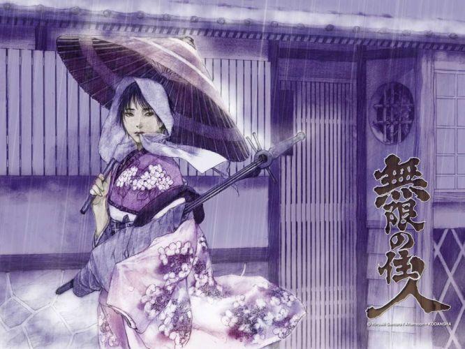 afternoon blade of the immortal mugen no juunin otono-tachibana makie purple samura hiroaki shamisen umbrella wallpaper
