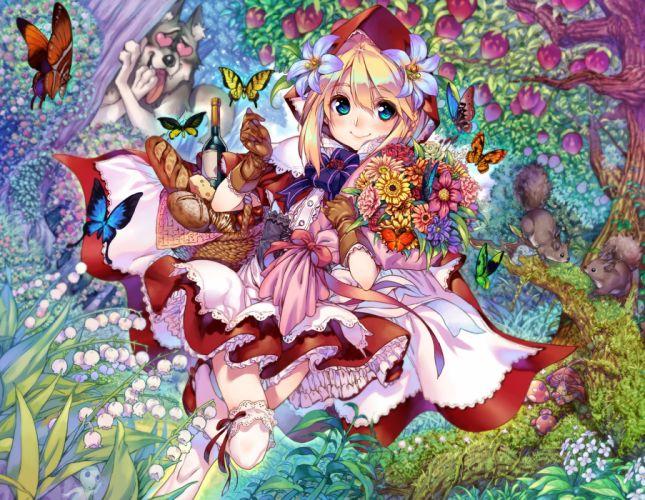 blonde hair blue eyes butterfly dress flowers food fruit kink little red riding hood long hair thighhighs tree wolf wallpaper