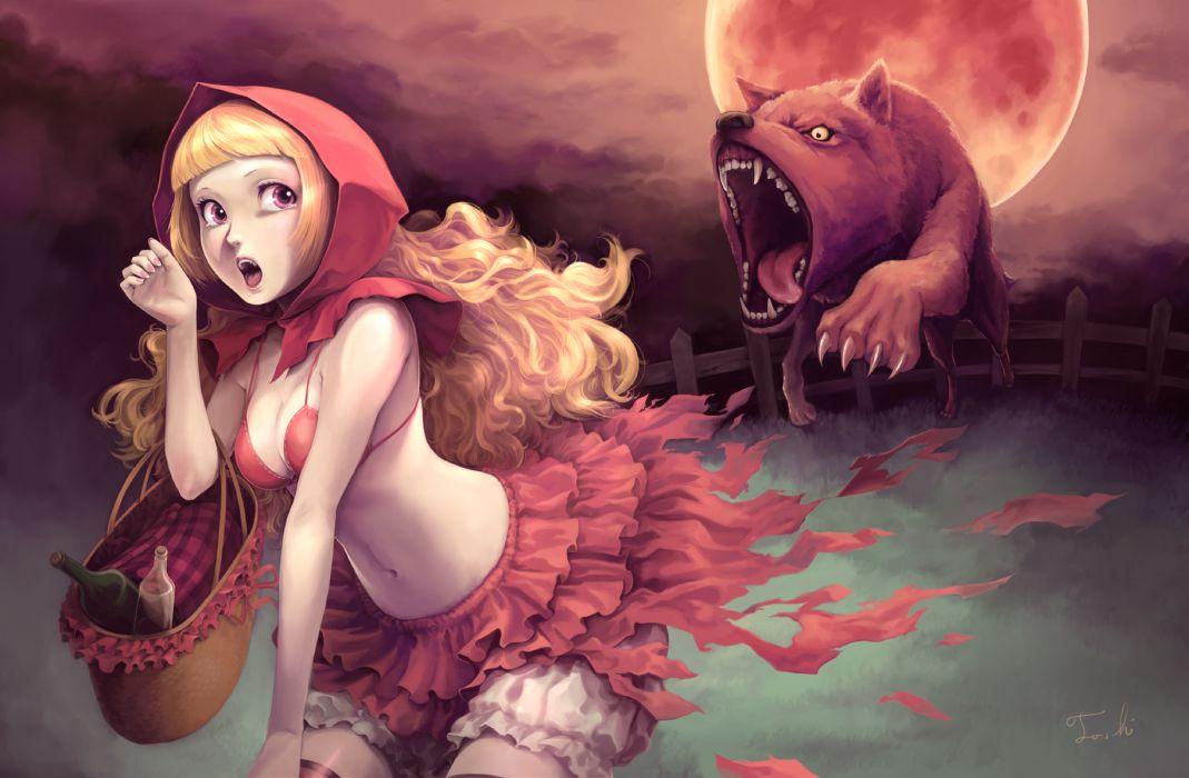 blonde hair bra cleavage little red riding hood torn clothes toshi (tsujigiri style) underwear wolf wallpaper
