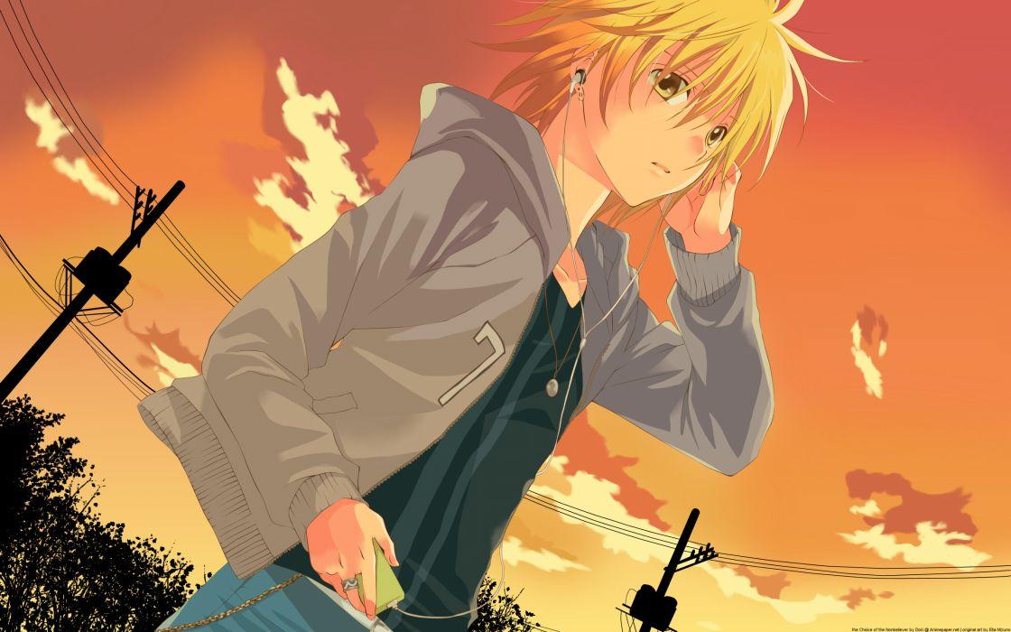 blonde hair headphones ipod orange sawamura shirou scenic short hair sky spiral sunset wallpaper