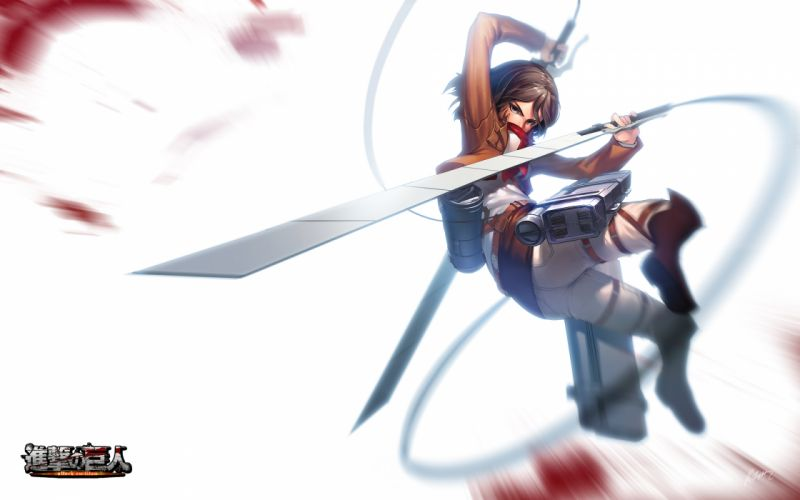 boots brown eyes brown hair logo mikasa ackerman rheez scarf shingeki no kyojin short hair signed weapon wallpaper