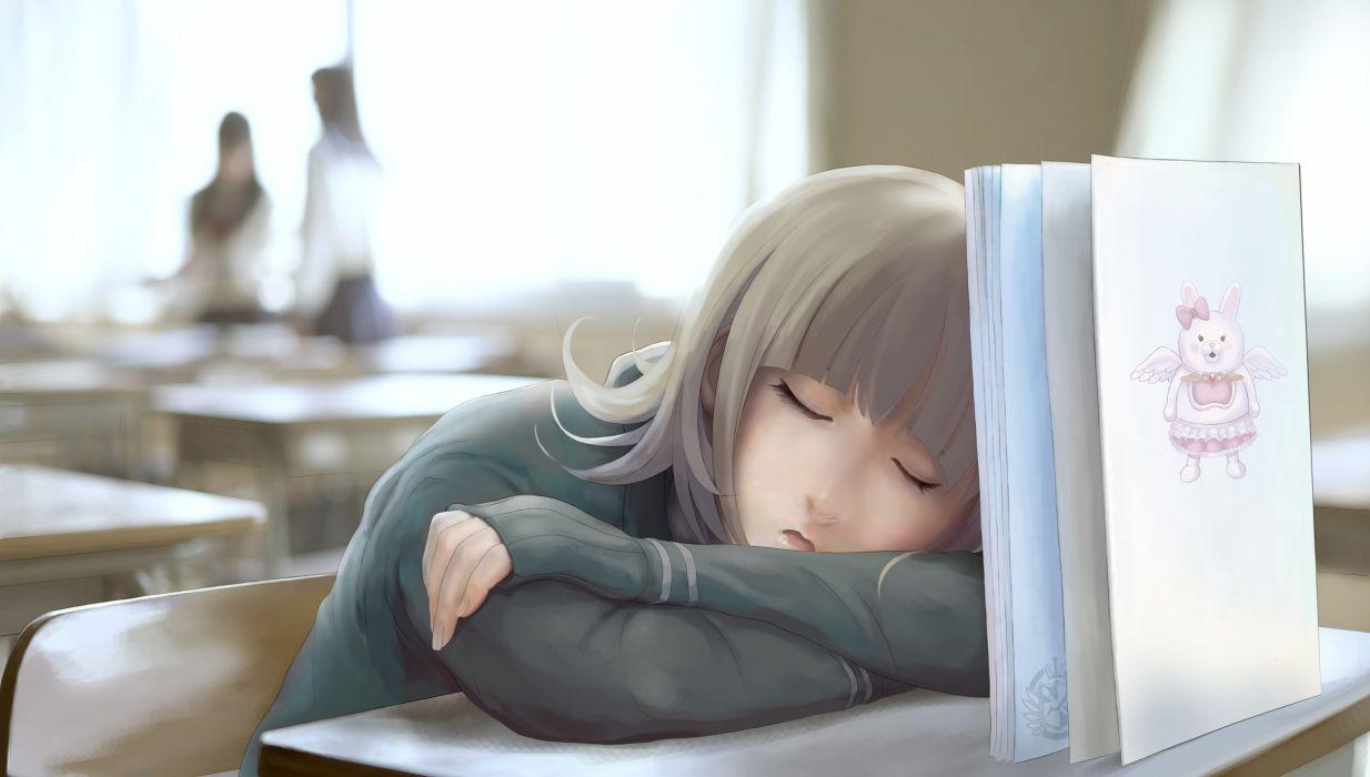 dangan-ronpa nanami chiaki nyarko seifuku sleeping wallpaper
