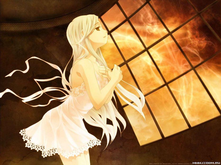 dress long hair rino takigawa yuu white clarity white hair wallpaper