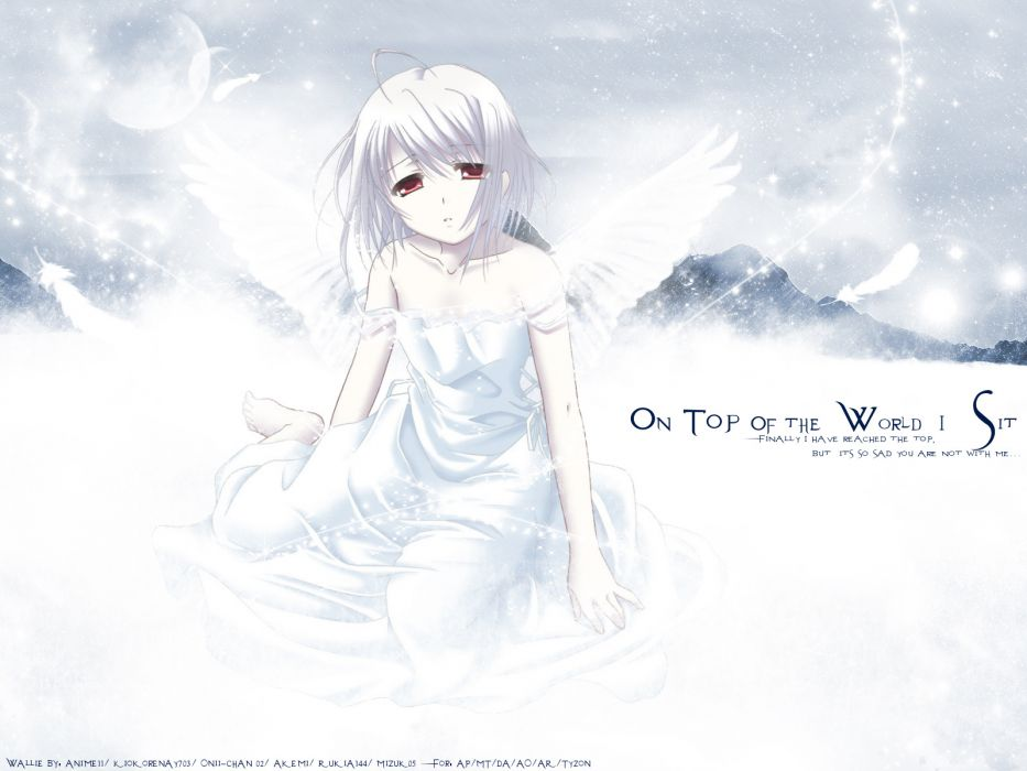 red eyes rino white clarity white hair wings wings of beauty wallpaper