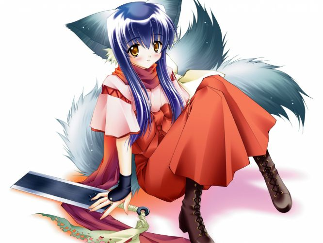 animal ears boots foxgirl japanese clothes koma sword tail tail tale weapon yellow eyes wallpaper