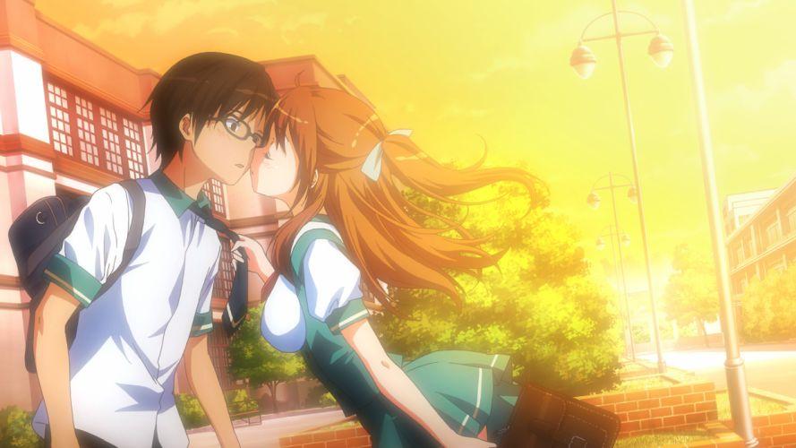 aorio brown hair game cg glasses kiss long hair matsuzawa yuka moododan seifuku tie wallpaper