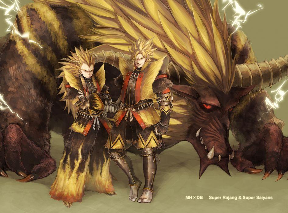 armor blonde hair crossover dragonball fang gloves green eyes horns long hair male monster hunter nishi yukari rajang red eyes son goku vegeta wallpaper
