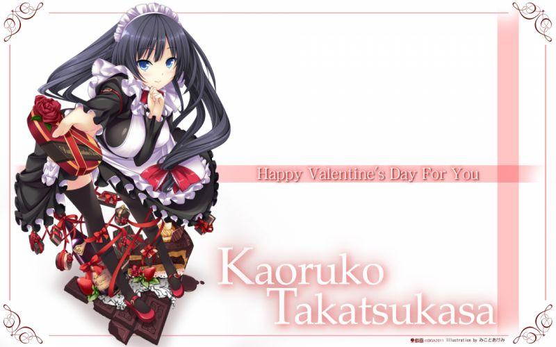 black hair blue eyes chocolate hinata terrace long hair maid mikoto akemi takatsukasa kaoruko thighhighs valentine wallpaper