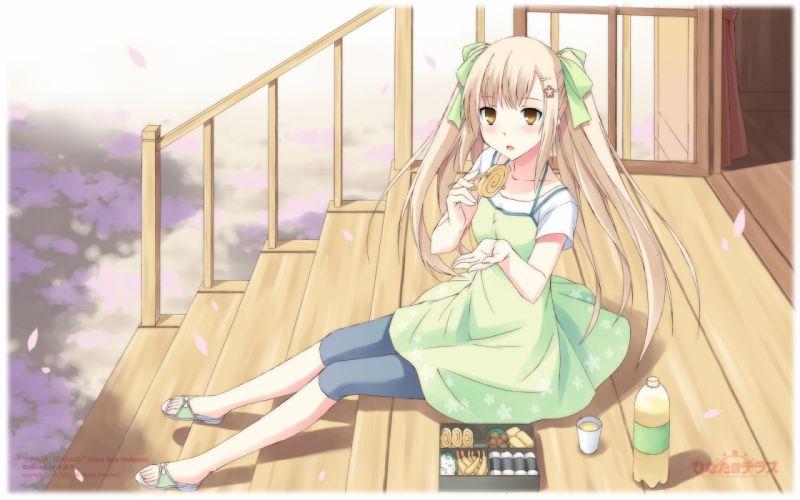 blonde hair brown eyes hinata terrace kajiwara hina long hair mikaze takashi twintails wallpaper