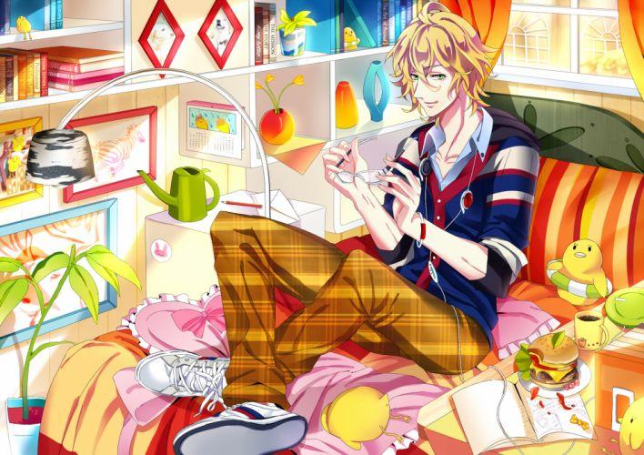 blonde hair book food glasses green eyes shinomiya natsuki uta no prince-sama yuna (rutera) wallpaper