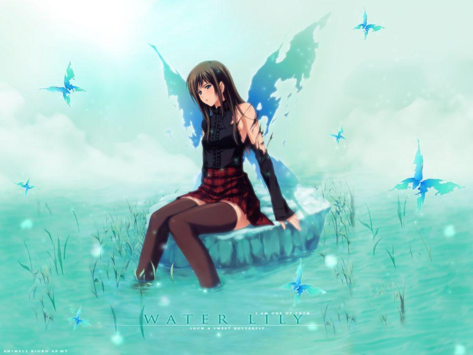 blue brown hair innocent grey long hair pianissimo shirakawa ayane skirt sugina miki thighhighs water wings wallpaper