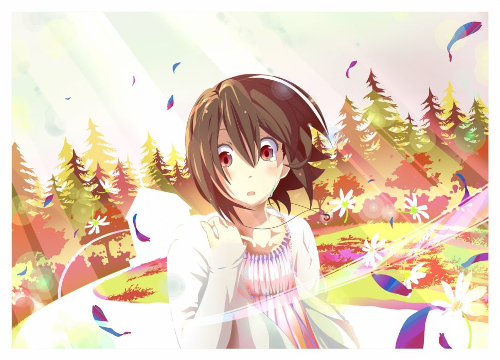 blush brown hair forest grass inaba himeko kokoro connect monaral-jiro necklace red eyes short hair tears tree wallpaper