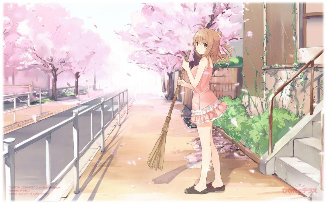 brown eyes brown hair hinata terrace miz22 petals yaotome mai wallpaper