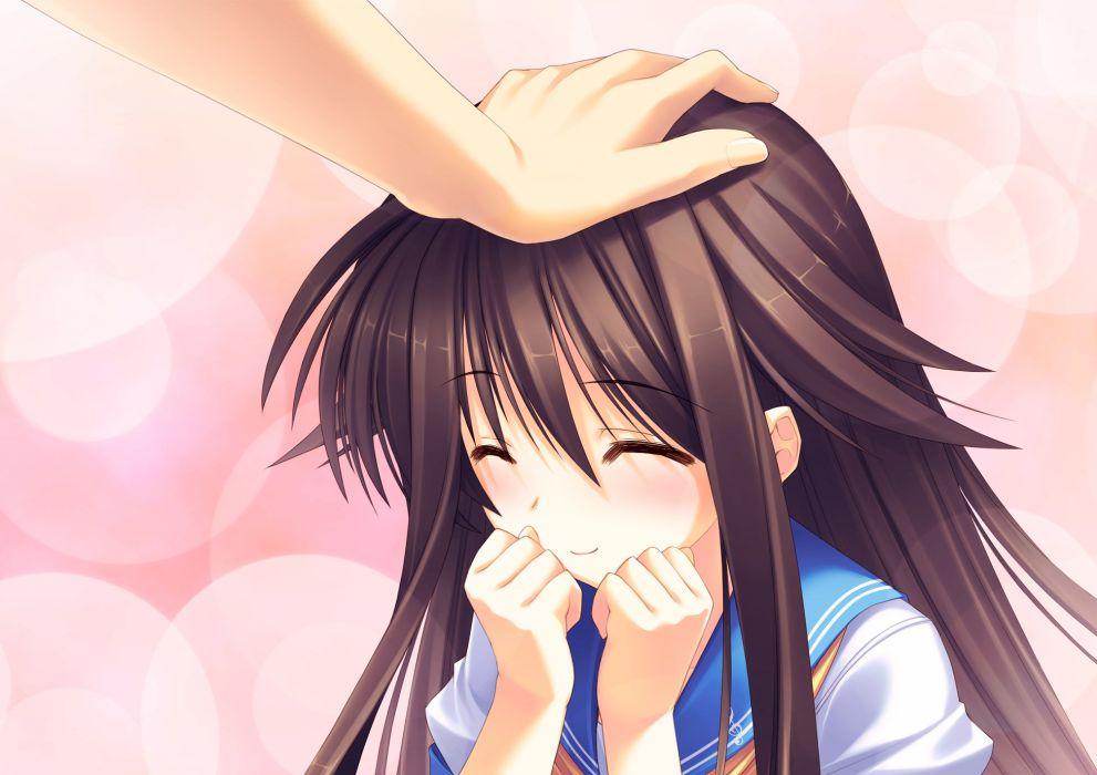 brown hair himukai kyousuke long hair owarinaki natsu towa naru shirabe seifuku takanashi mio wallpaper